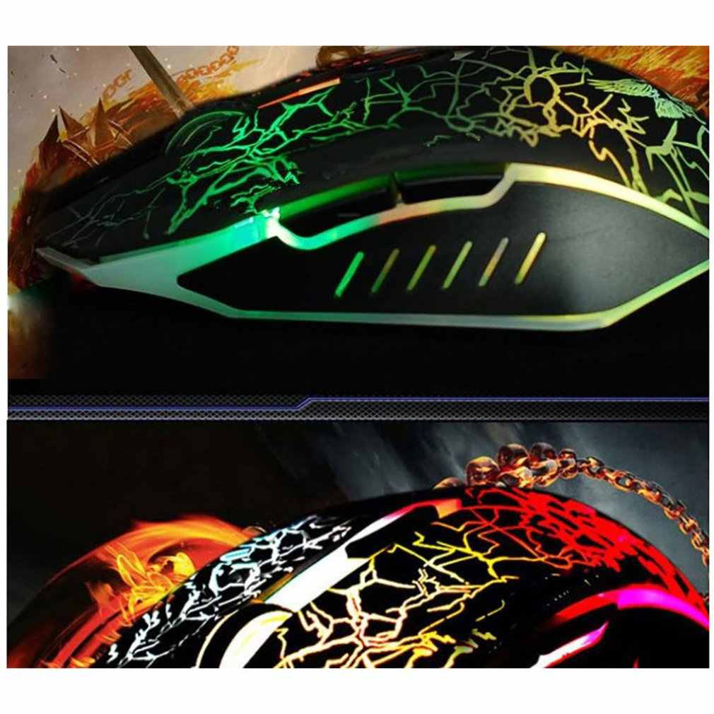 Gaming Mouse USB Lampu Crack 6 Tombol Mouse Kabel Warna-warni Mouse Portabel Tahan Lama Responsif LED Pernapasan Lampu