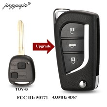 Jingyuqin модифицированный флип 2/3 кнопки дистанционного ключа Fob 433 МГц 4D67 чип для Toyota Prado 120 RAV4 Kluger FCC ID: 50171