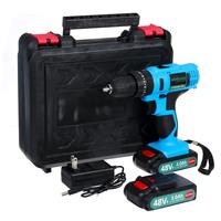 48VF Electric Drill Hammer Impact Cordless Electric Screwdriver Drilling 25+1 Torque Rechargeable 2xLi ion Battery Power Tool