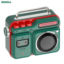 Bonola Retro Radio Shape HiFi Wireless Bluetooth Speaker Mini Portable Bluetooth Speaker Outdoor 3D Stereo HiFi Music Playback
