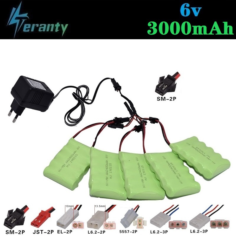 (SM Plug) Ni-MH <font><b>6v</b></font> 3000mah Battery + <font><b>USB</b></font> <font><b>Charger</b></font> For Rc toys Cars Tanks Robots Boats Gun AA 2400mah <font><b>6v</b></font> Rechargeable Battery Pack image