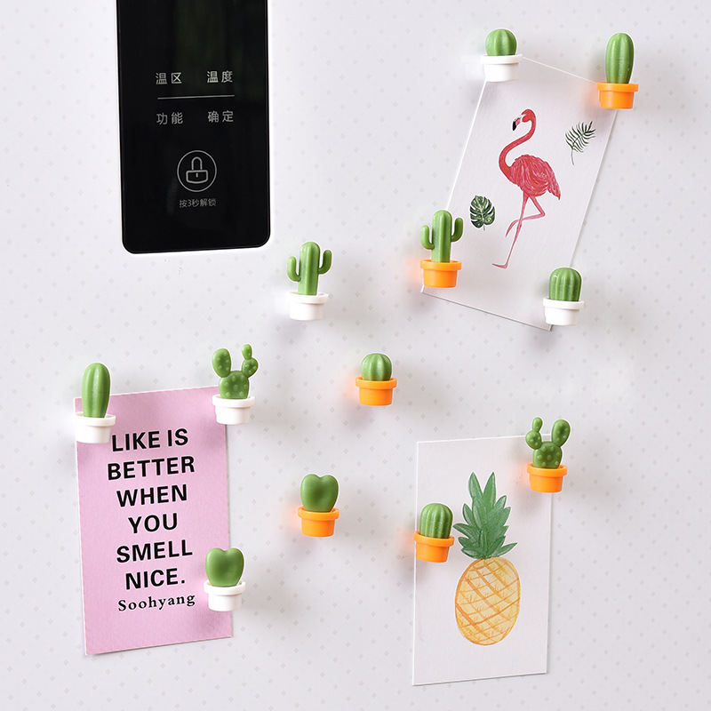 6pcs/Set Cute Kawaii Cactus Succulent Plant Magnet Button Refrigerator Message Sticker Home Decoration Kitchen Access New Arriv(China)