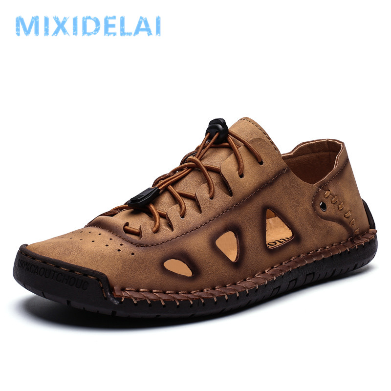 2020 New Spring Summer Outdoor Leather Casual Shoes Breathable Men's Shoes Handmade Flats Moccasins Loafers Big Size 38-48