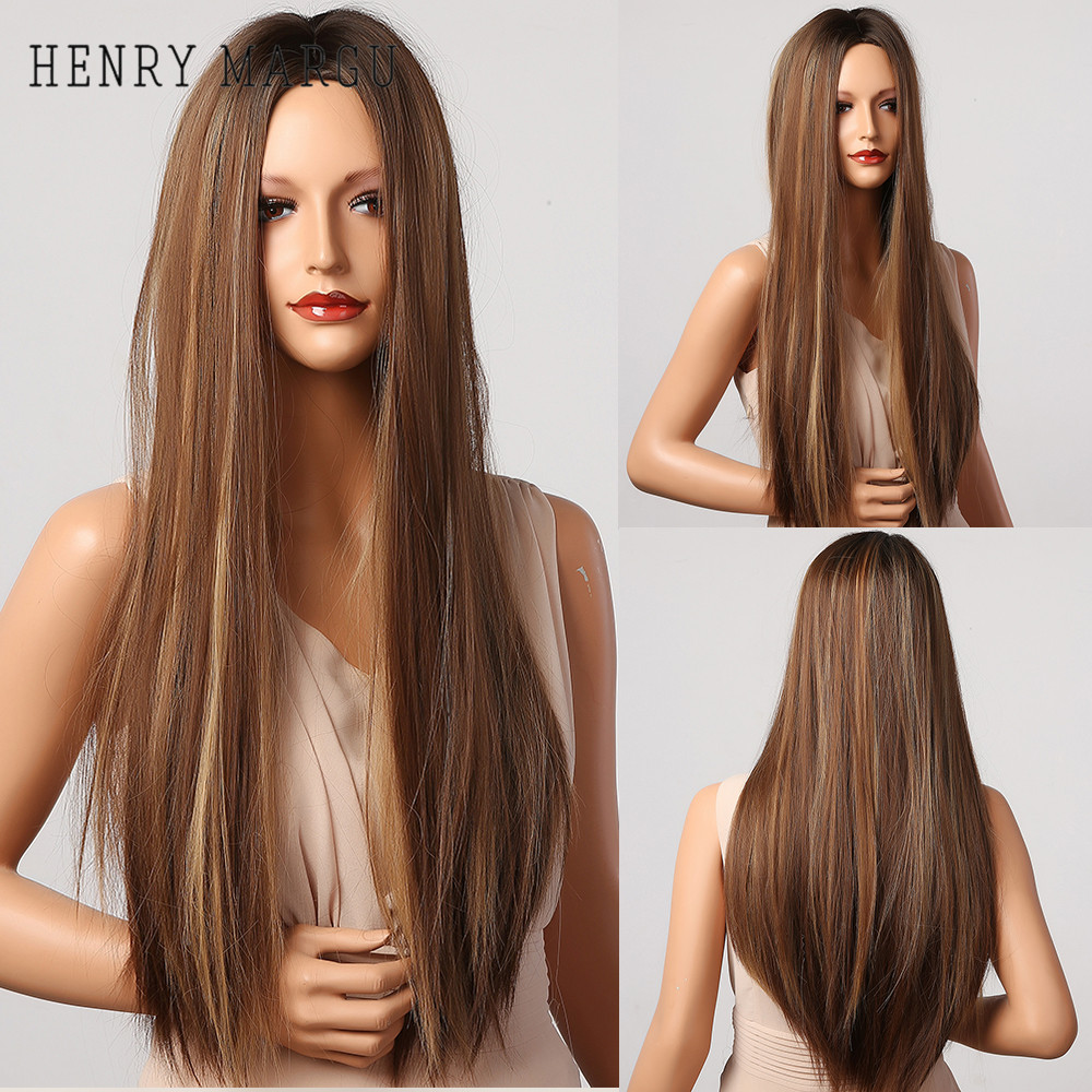 HENRY MARGU Long Straight Gloden Brown Ombre Highlight Wigs Middle Part Cosplay Synthetic Wigs for Black Women Heat Resistant