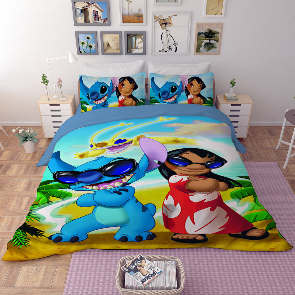 Disney Bedding Set Lilo & Stitch Cartoon Pattern Twin Queen King Size Duvet Cover For Boys Girl Kids Bed Linens 3d Home Textiles