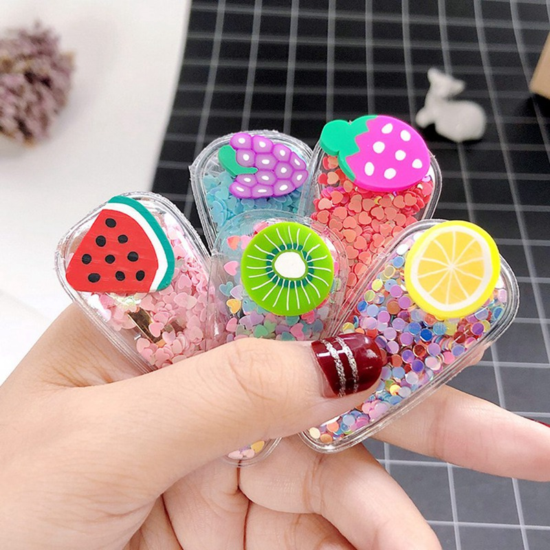 Fashion Girls Sweet Colorful Sequin Fruit Transparent PVC Hairpins Children Cute Hair Clips Headbands Barrettes Hair Accessories
