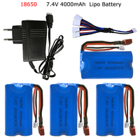 Batería Lipo JJRC Q46 Q39 Wltoys 18650 7,4 4000 144001 12428 12423 piezas de repuesto de coche teledirigido, 10428 V MAH