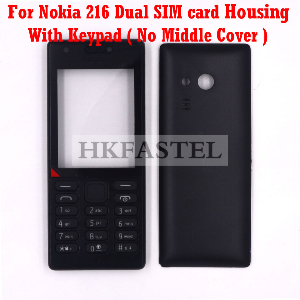 HKFASTEL High Quality Housing keyboard For <font><b>Nokia</b></font> <font><b>216</b></font> Dual SIM card New Mobile Phone Cover <font><b>Case</b></font> with Keypad image