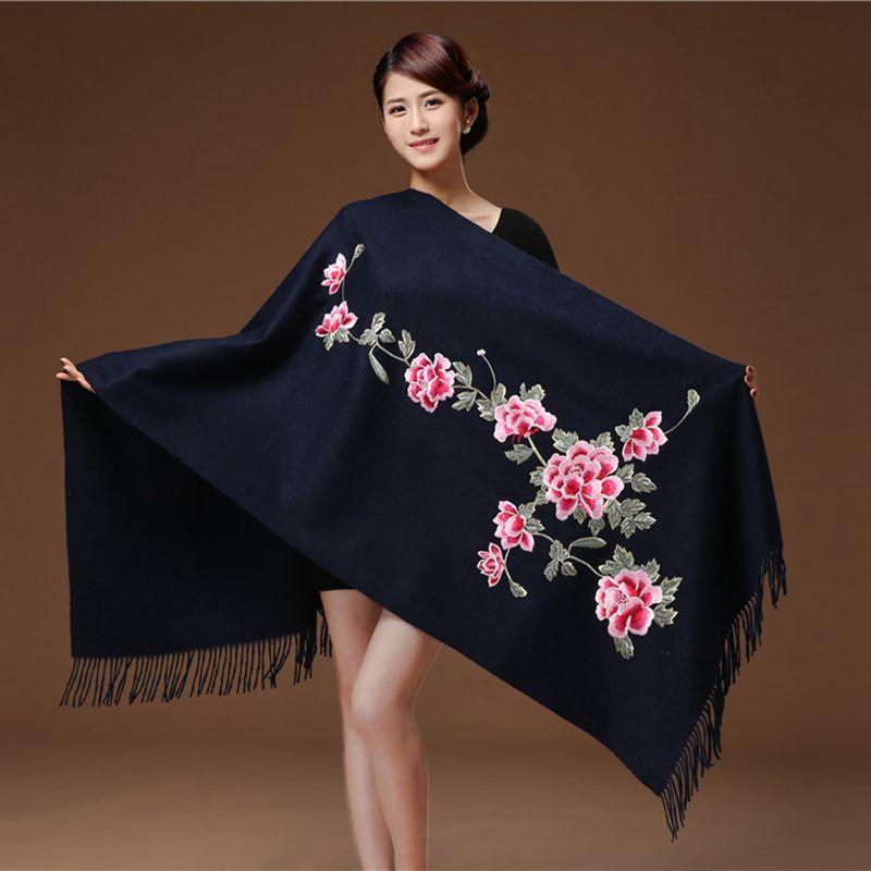 Winter Shawls Women Artificial cashmere Tassel Scarves Flowers Embroidery Long шумоглушитель Soft Wraps Warm Female шаль 2020