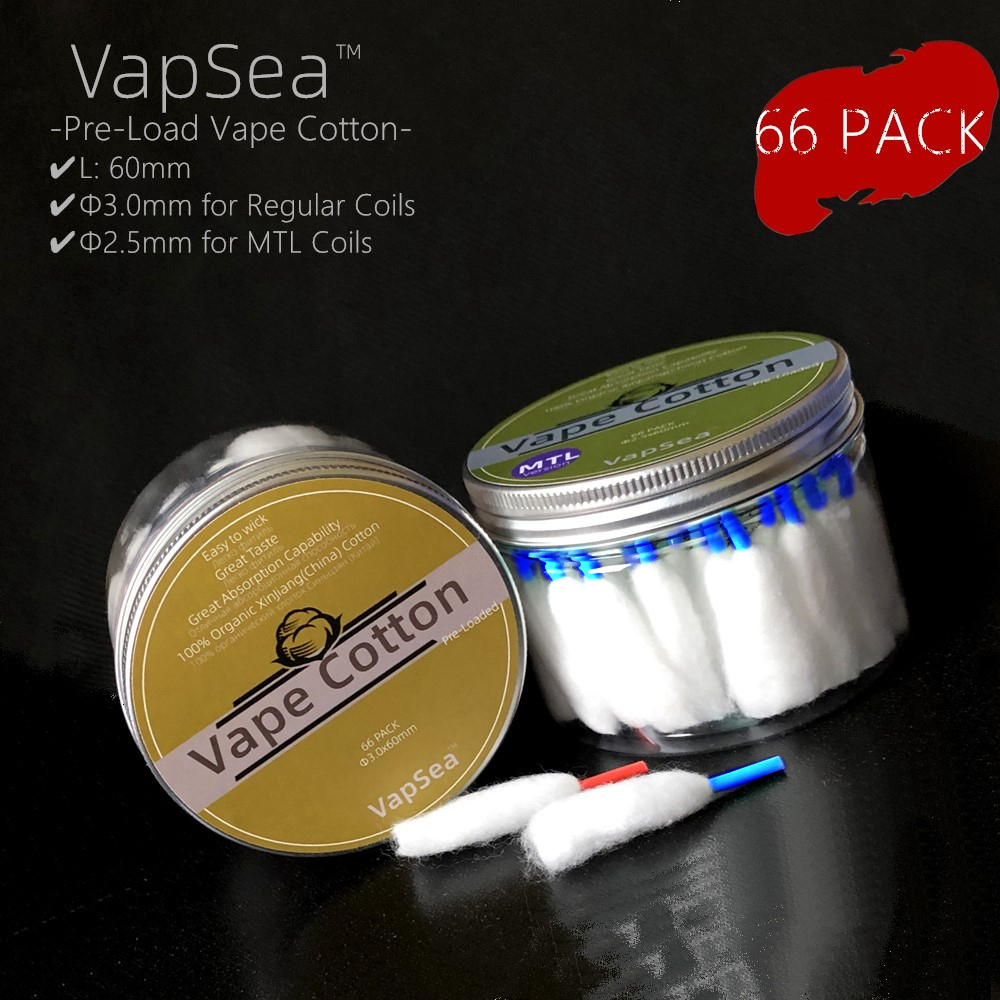 Original VapSea Big Box Vape Cotton Wool 66 Pack MTL Organic Prime Electronic Cigarette Bacon For RDA RTA RBA Atomizer Coil