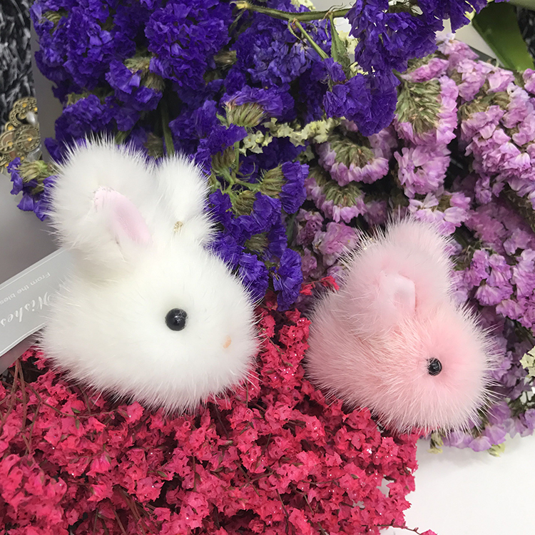 New style mink fur little jade rabbit doll pendant cute Rex rabbit fur Little Rabbit bag pendant mobile phone decoration
