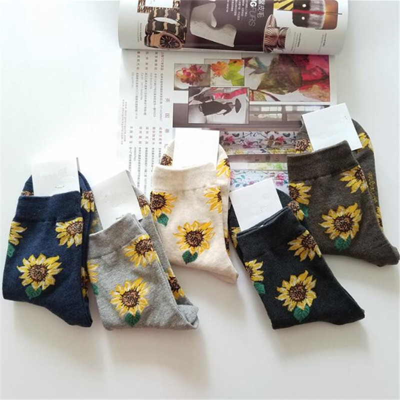 Korean Style Women Short Socks Sunflower Creative Art Harajuku Japanese Funny Socks Winter Warm Cotton Tide Art Socks Female