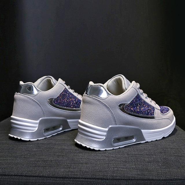 Zapatos de lentejuelas con diseño de moda para mujer, zapatos para correr con colchón de aire, zapatillas de ocio al aire libre, novedad de 2109 5