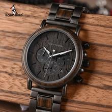 Bobo pássaro de madeira relógio masculino marca superior luxo elegante cronógrafo relógios militares em caixa de presente madeira