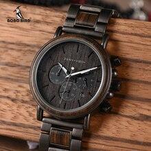 ボボ鳥木材メンズ腕時計レロジオmasculinoトップブランドの高級スタイリッシュなクロノグラフ軍事腕時計時計木製ギフトボックス