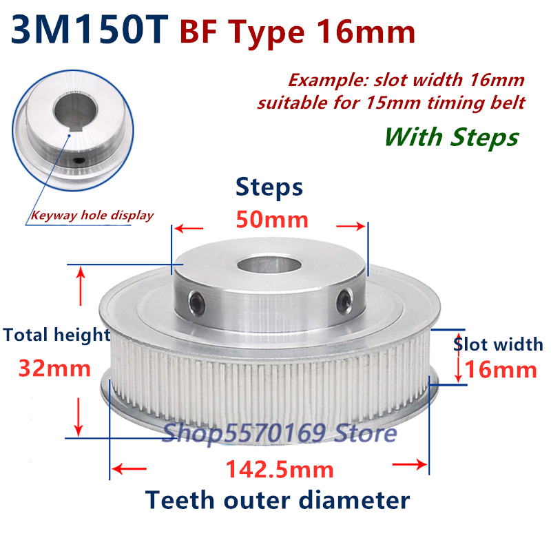 3M Timing Pulley 36T 8mm Bore for Stepper Motor 3D Printer 16mm Width HTD