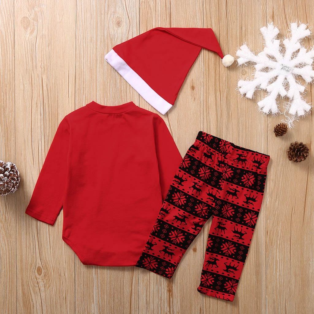 3Pcs Newborn Baby Kids Christmas Boys Girls Santa Romper Hat Bib Costume Outfits