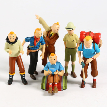 6pcs/set The Adventures of Tintin Tin Tin PVC Collectible Action Figure Mini Anime Cartoon Model Toys Doll Gifts For Kids the adventures of tintin the shooting star