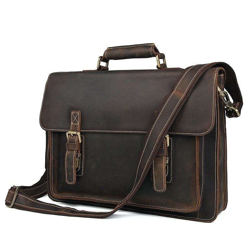 Genuine Leather Male Crazy Horsehide Briefcase Handbag Men Messenger Bag Laptop Bag Maletines Hombre Buy Men's Briefcase