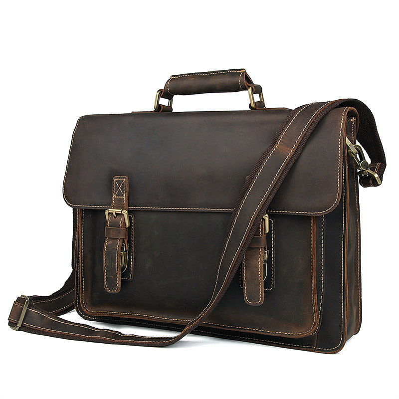 Genuine Leather Male Crazy Horsehide Briefcase Handbag Men Messenger Bag Laptop Bag Maletines Hombre Buy Men's Briefcase image