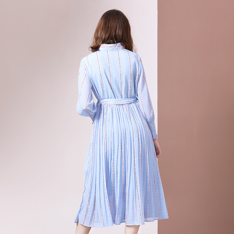 2019 autumn new fashion women's chiffon female print big swing pleated loose waist  temperament dress