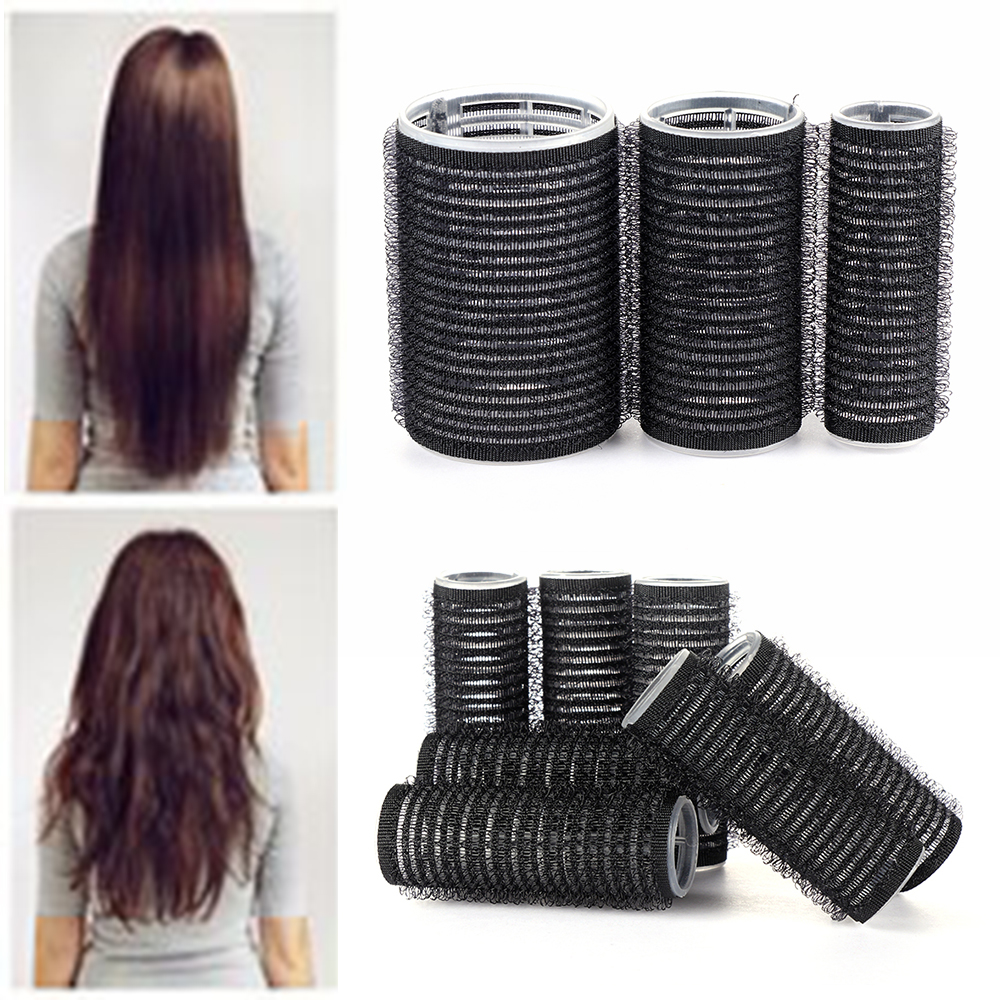 Black Large Self Grip Hair Rollers Pro Salon Hairdressing Curlers Professional Multi Size Hair Salon Sticky Cling Style For DIY