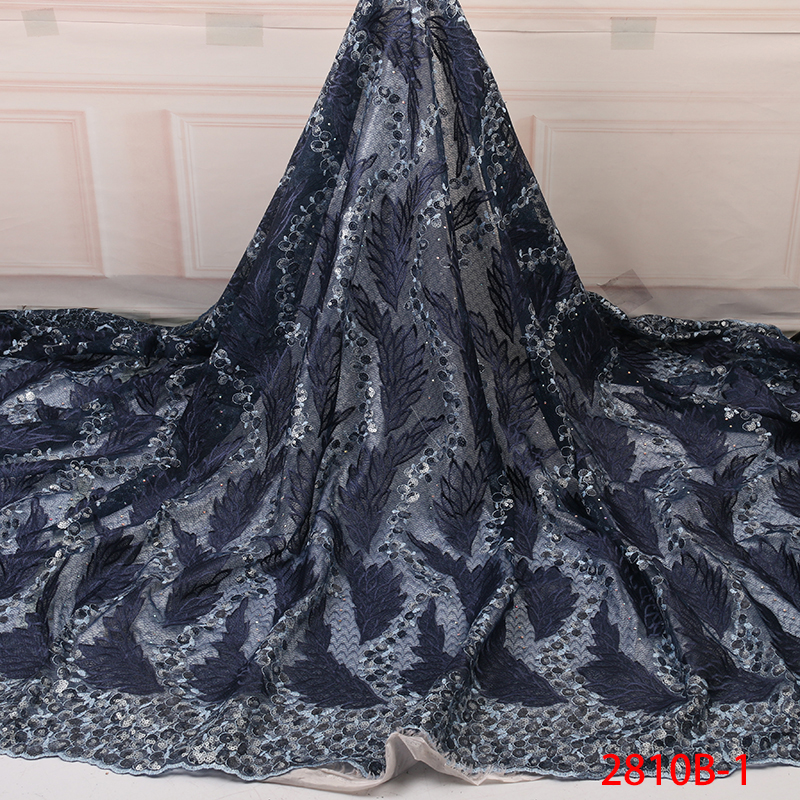 Sequins Lace Fabric Latest African Lace Fabric High Quality Nigerian French Party Lace Fabric For Tulle Lace Fabric YA2810B-1