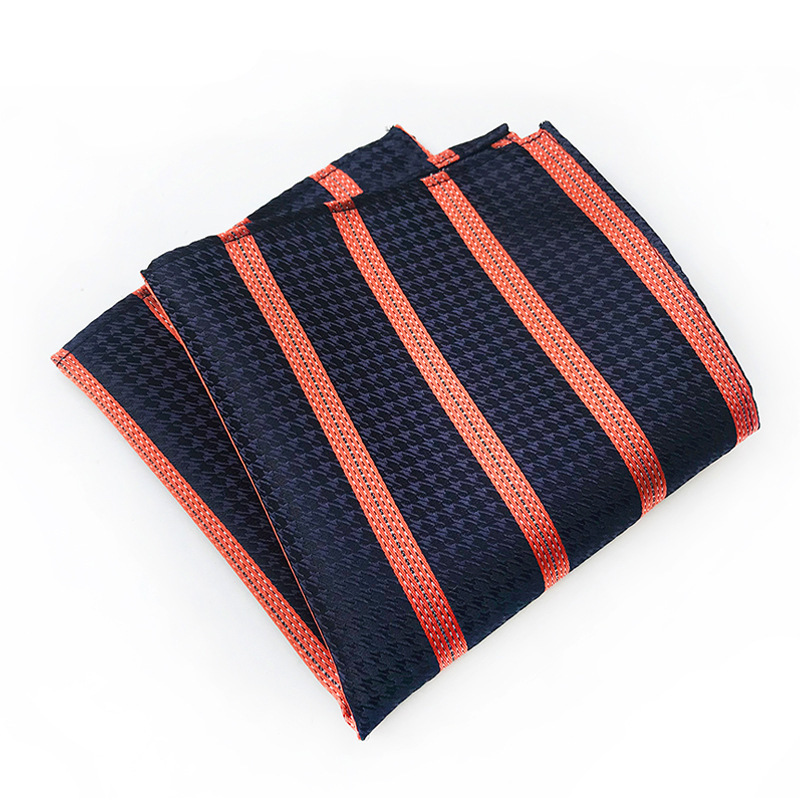 Men's Wedding Pocket Square Polyester Silk Tie Handkerchiefs Fashion Necktie Plaid Mens Ties Pocket Towel Christmas Gift For Men