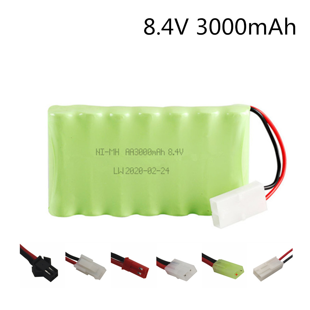 8.4v 3000mAh NiMH Rechargeable Battery For Rc Car Tanks Trains Robot Boat Gun Toys Ni-MH AA 2400mah 8.4v Rechargeable Battery image