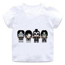Menina menino blusa nova stormtrooper fãs beijo rock banda impressão em torno do pescoço algodão tshirt crianças verão manga curta camisa universal