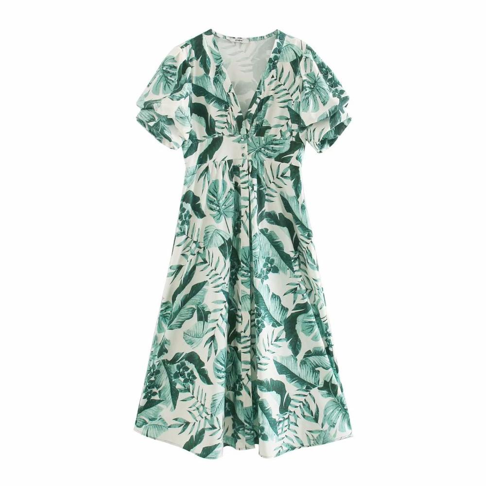 New 2020 women tropical green leaves print shirt dress chic female lantern sleeve pocket vestido casual slim midi dresses DS3831