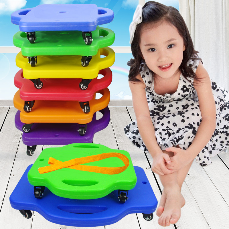 Children Scooter Board With Swivel Casters Plastic Scooter Seat Board Kids Safety Outdoor Balance Training Roller Coasters Cars