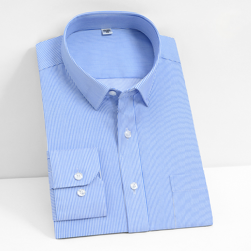 High Grade Non-iron 100% Cotton Formal Men Solid/ Striped Shirts Long Sleeve Classical Business Male Apparel