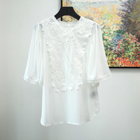 Women Shirt New Fashion Lace Embroidery Applique Top 100% Viscose Blouses