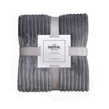 Manta de rayas sólidas manta de lana de franela mantas Súper suaves invierno cálido y mullido colcha de lino para la decoración del dormitorio del sofá