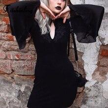 Fitshinling Gothic Embroidery Dress Autumn Winter Flare Sleeve Black Vestidos Vintage Slim Sexy Goth Dark Dresses For Women Sale
