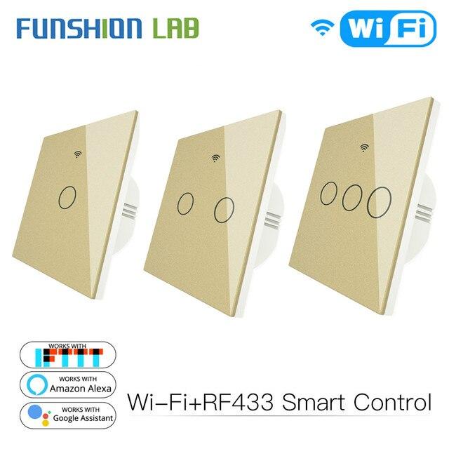 Goud Wifi Slimme Lichtschakelaar RF433 Draadloze Afstandsbediening Glass Panel Light Switch Werkt Met Alexa Echo Google Home 1 /2/3 Gang