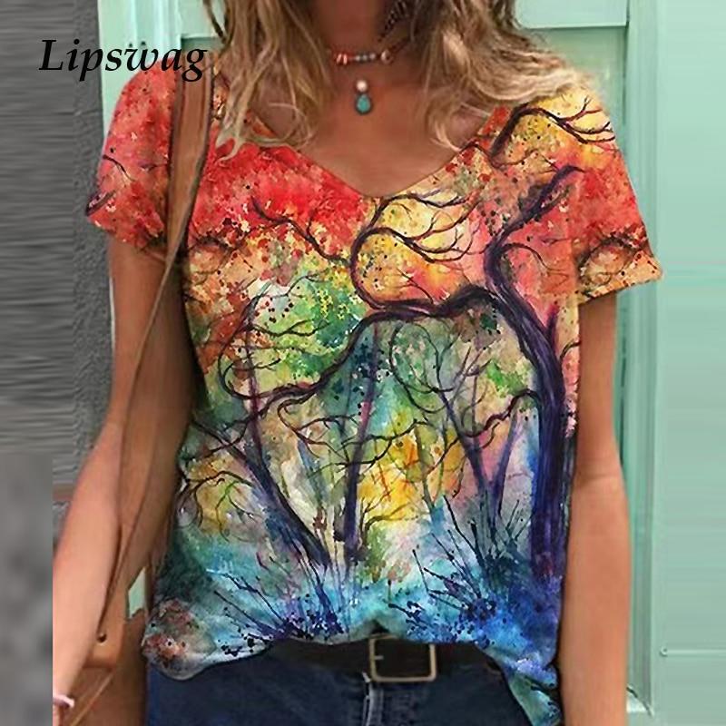 Primavera y verano de manga corta con estampado Floral Blusa camisa mujer cuello redondo Vintage Jersey Blusa bohemio ropa holgada Casual para mujeres