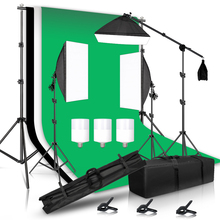 Photography Lighting Kit Including 2x2M Photo Background Muslin Backdrops & Softbox & Light Stand &Portable Bag For Photo Studio
