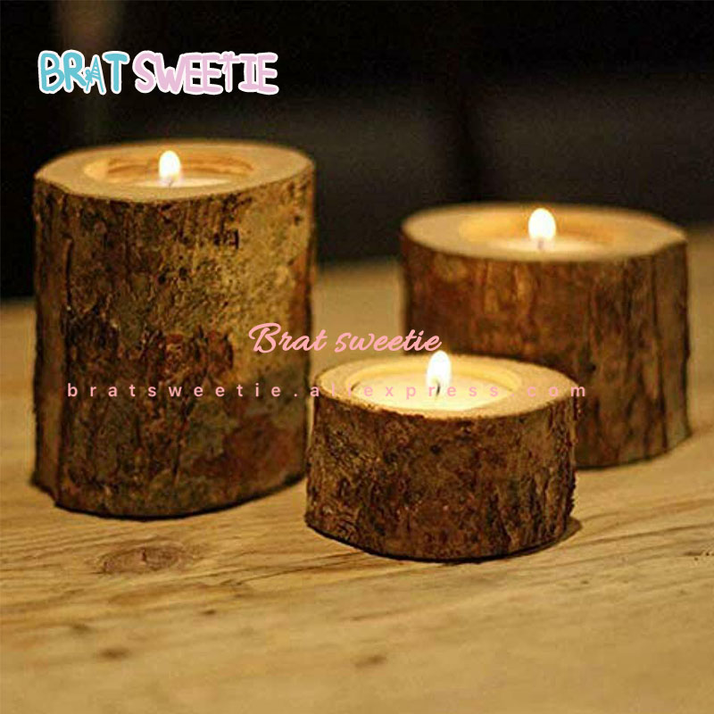 Rustic Wooden Candle Holder Wood Candlestick Ramadan Mubarak Wedding Table Decoration Centerpieces Birthday Party Supplies(China)