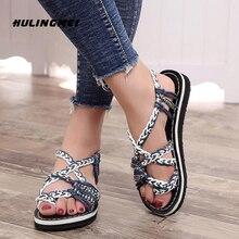 Women Rainbow Knit Sandals Flat Bohemia Ethnic Shoes Cover Heel Peep Toe Platform Ladies Casual For