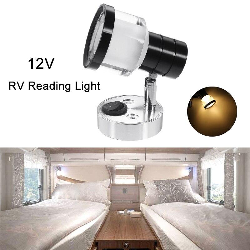 12V Camper Lamp LED Interior Reading Light RV Wall Spot Lights For Camping Van Caravan Boat Motorhome