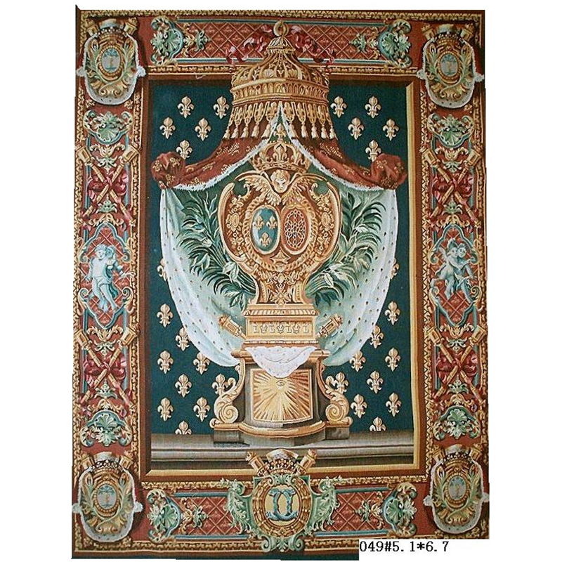 Tapestry Antique European Aubusson Art Brown Fashionable Circular Household Decoration Mat Woven Tapestry floor Kits - 6