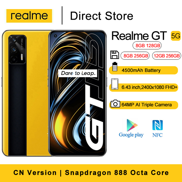 """Realme GT 5G Android 11 Cell Phones 6.43"""" 16MP Front Camera NFC Smartphone Snapdragon 888 Octa Core 4500mAh 65W Flash Charging 1"""