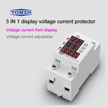 63A 230V 3IN1 pantalla carril Din ajustable sobre y bajo voltaje dispositivo protector relé con protección contra sobrecorriente