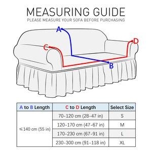 Image 2 - NEUE Elastische Sofa Abdeckung 3D Plaid Schutzhülle Universal Möbel Abdeckungen mit Elegante Rock für Wohnzimmer Sessel Couch Sofa