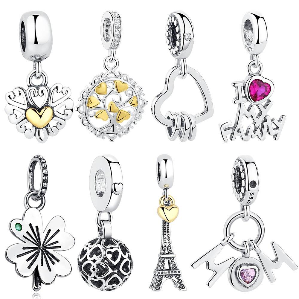 Valentine's Day Gift 925 Sterling Silver Interlocked Heart Dangle Charms Beads Fit Original Pandora Bracelets Women Love Pendant(China)