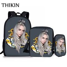THIKIN Sunflower Billie Eilish Print Backpack 3PCS School Bags for Teenager Girls Popular Casual Bag Singer Rapper Pencil Pouch