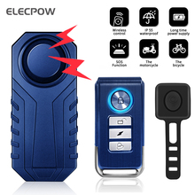 Elecpow Bike Alarm Remote Control Waterproof Electric Bicycle Anti-Theft Alarm with Horn Loud 113dB Vibration Sensor for Motorcy
