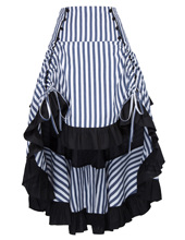Party Skirt Striped Gathered Steampunk Vintage Style High-Low Hot Sale New